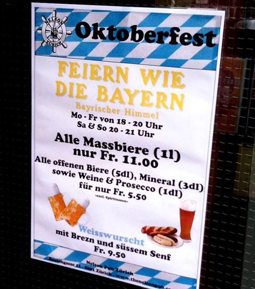 Oktoberfest, Zürich, Wiesn, Pub, Nelson, Gmiatlichkeit, Bayern, Klischee