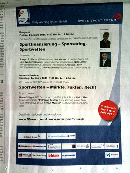 anzeige swis sport forum, sepp blatter, sportwetten
