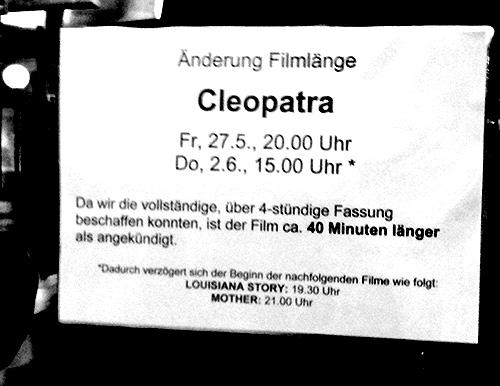 cleopatra, film, liz taylor, filmlaenge, filmpodium, zuerich