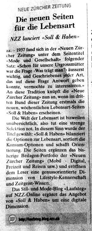 """Einführung """"Soll & Haben in der NZZ"""
